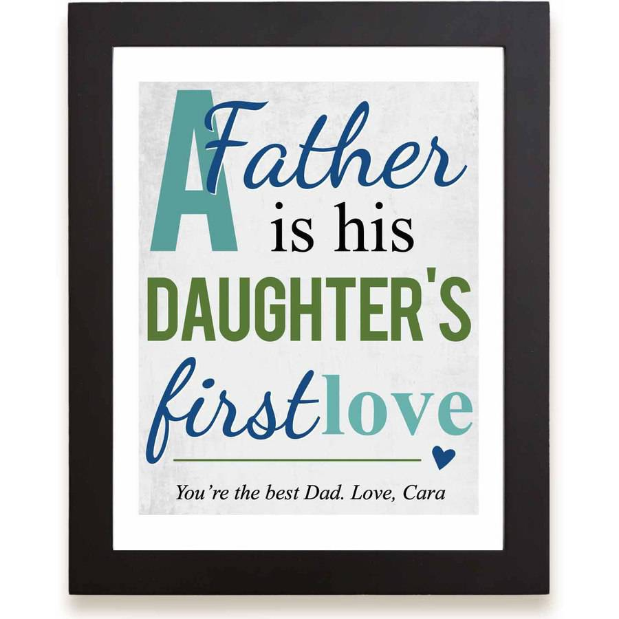 "Personalized First Memories of Father Print, Love, Blue, 11"" x 14"""