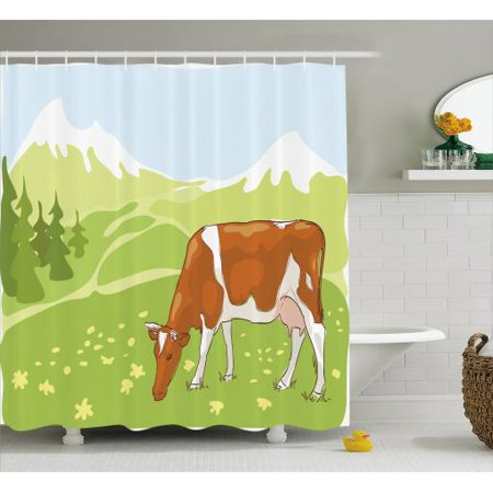 Cattle Shower Curtain Stylized Sketch Cow Eating Grass On The Alpine Meadow With Nature Forest