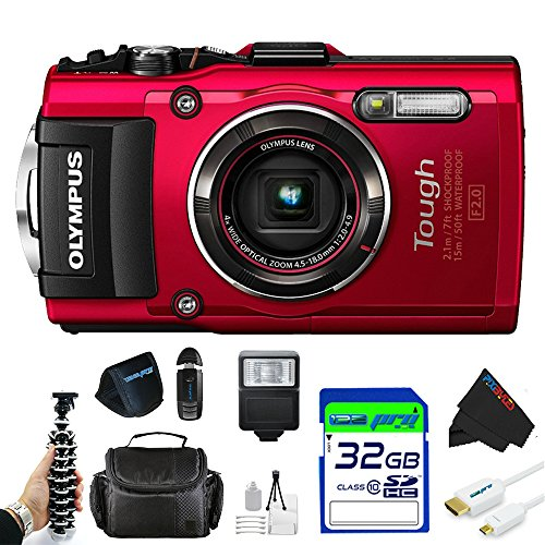 "Olympus OLYTG4RDPBK Stylus 16 Waterproof Digital Camera with 4x OIS Zoom, 3"" LCD (Red)"