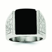 Sterling Silver Simulated Onyx Mens Ring - Ring Size: 9 to 11