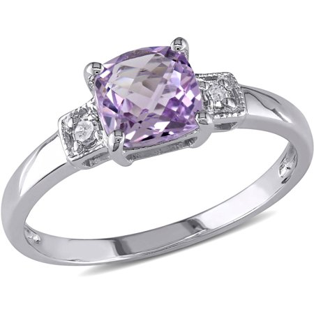4/5 Carat T.G.W. Amethyst and Diamond-Accent Sterling Silver 3-Stone Ring