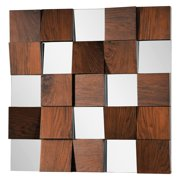 Ren-Wil Wall Mirror with Walnut Veneer Panels - 36W x 36H in.