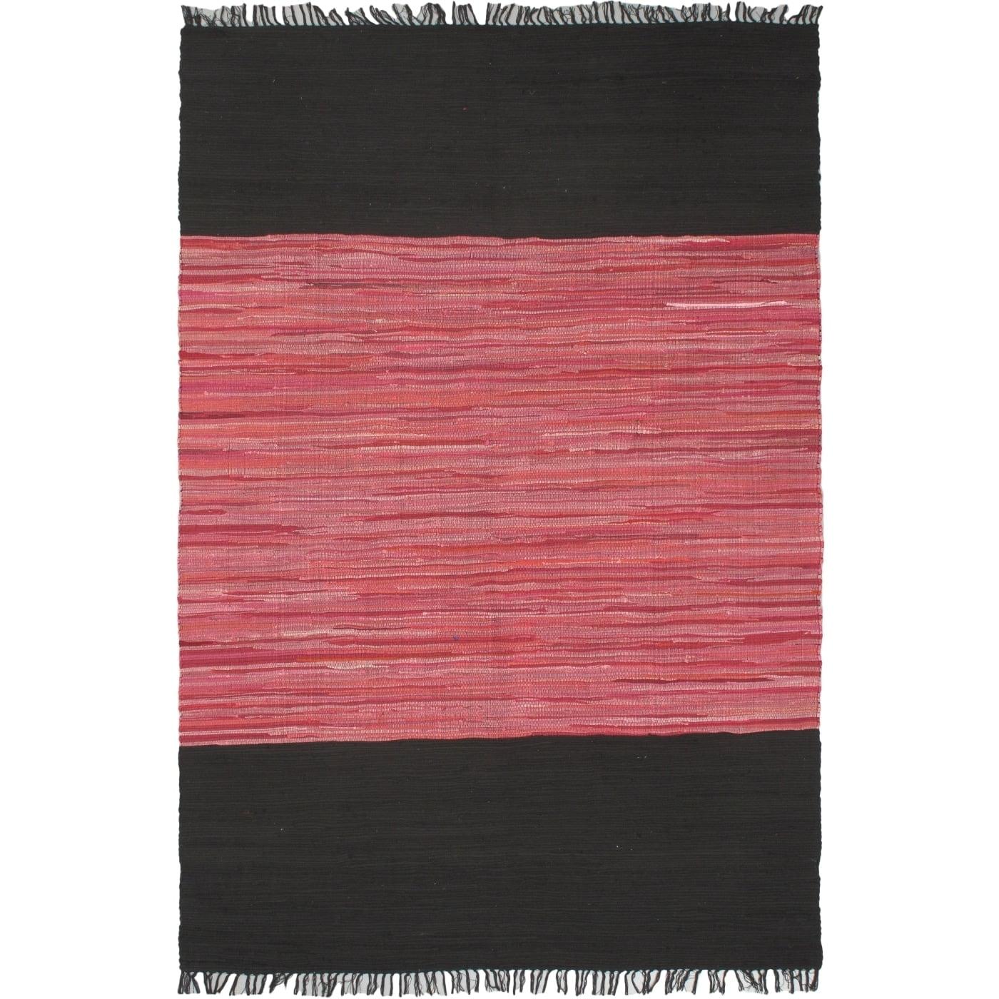 """Ecarpetgallery Braided Sienna Black/Pink Cotton Rug (5'3"""" x 8'0"""")"""