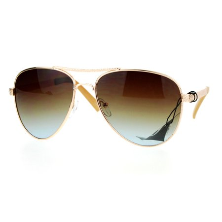 SA106 Luxury Womens Metal Jewel Fashion Aviator Sunglasses Gold Brown ()