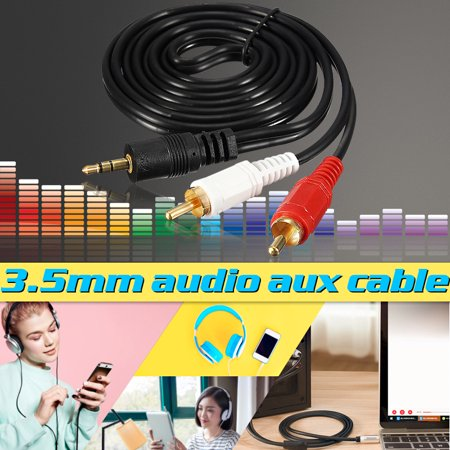 Rca Phono Lead - 3.5mm Mini Stereo Jack to 2 RCA Twin Phono Cable Lead Gold PC TV Aux Audio (4.6ft)
