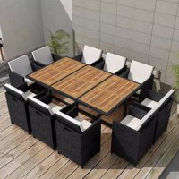 Outdoor Dining Set 31 Pieces Black Poly Rattan Acacia Wood