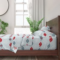Snow Snowflakes Holidays Winter 100% Cotton Sateen Sheet Set by Roostery
