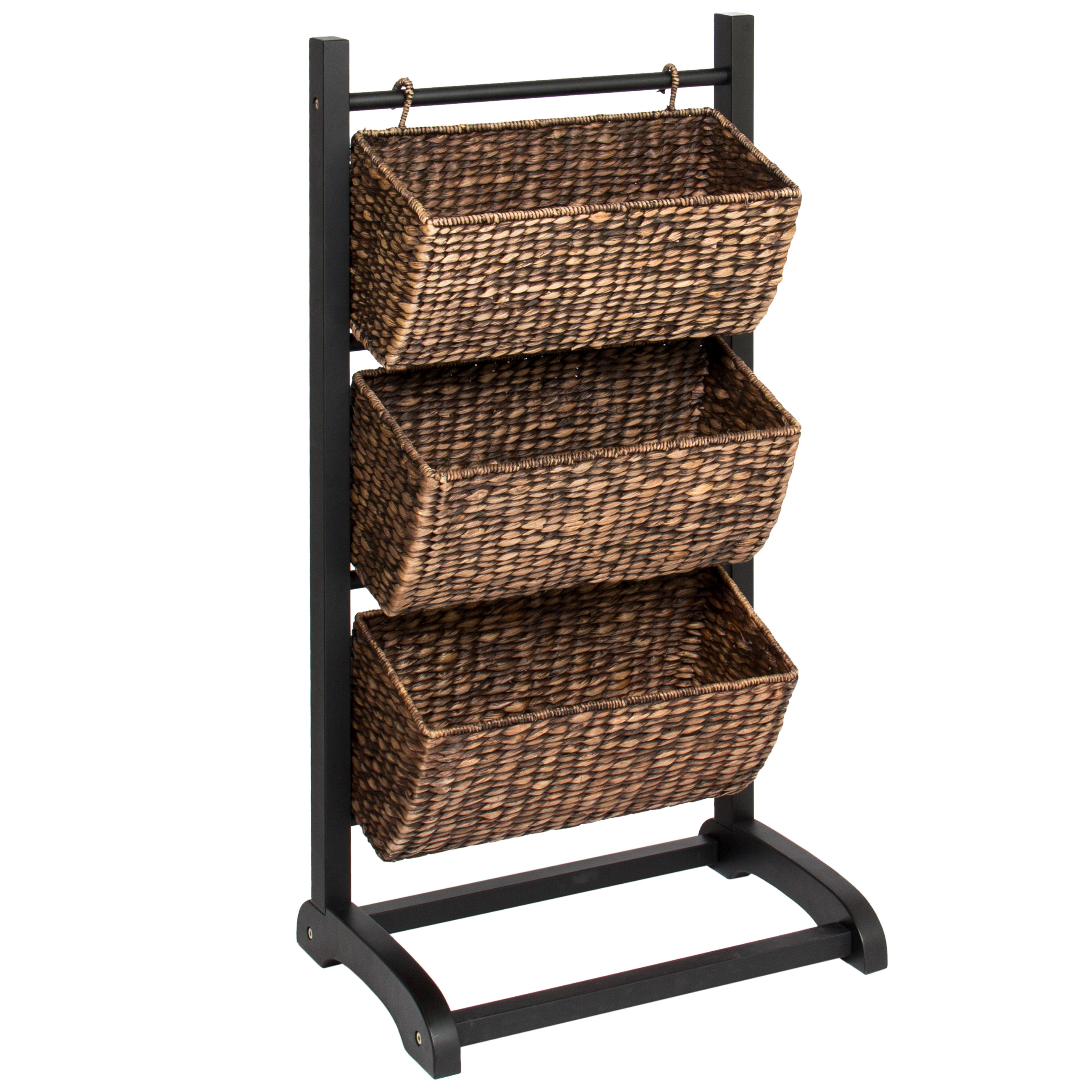 Best Choice Products Water Hyacinth 3 Tier Storage Cubby Metal Shelf - Brushed Espresso