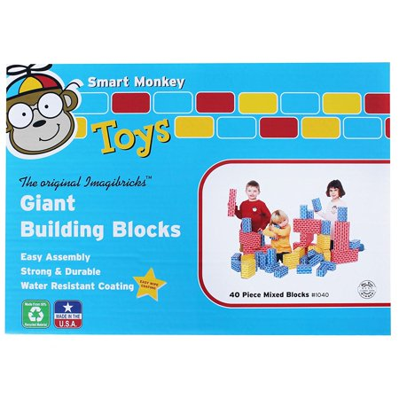 Giant Building Block 40-piece Set, The blocks are printed with non-toxic inks and with their water-resistant coating are strong and durable for years.., By Smart Monkey Toys](Year Monkey)