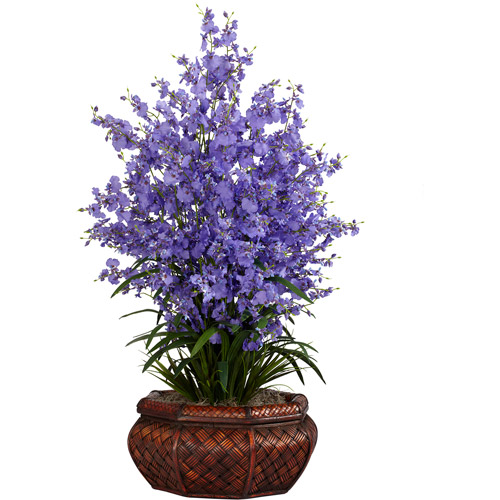 Nearly Natural Large Dancing Lady with Round Vase Silk Flower Arrangement, Purple