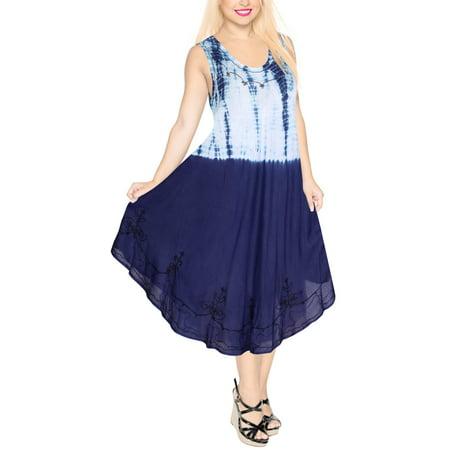 Bohemian Beach Wear Cover Up Rayon Tie Dye Embroidered Summer Kaftan Beach Shirt Smock Sun Dress for Women K