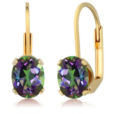 - 3.20 Ct Oval Shape Green Mystic Topaz Yellow Gold Plated Brass Dangle Earrings