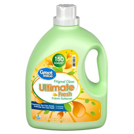 Great Value Ultimate Fresh Original Clean Fabric Softener, 150 loads, 129 fl