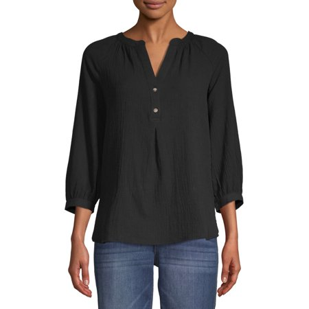 Time and Tru Women's Woven Henley Top (Pointelle Henley Top)