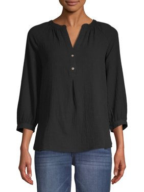 Time and Tru Women's Woven Henley Top