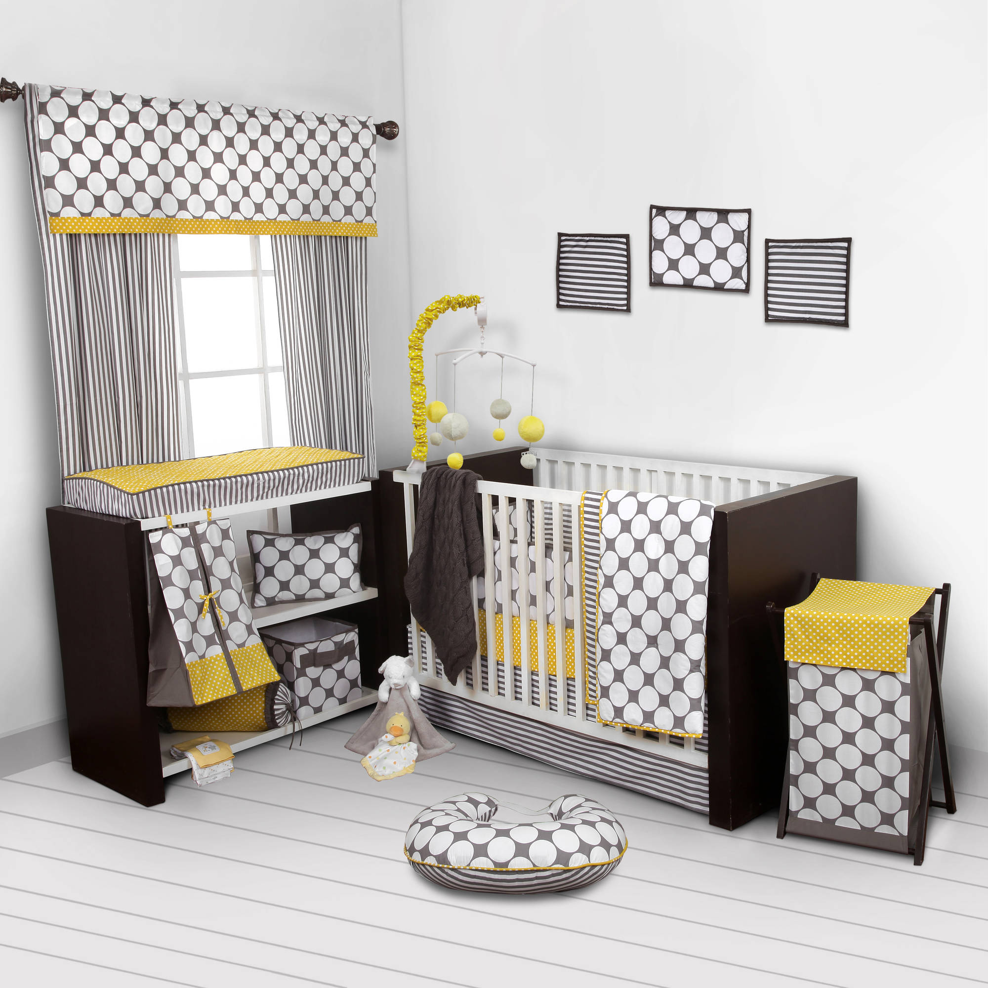 Bacati Dots/Pin Stripes Gray/Yellow 10-Piece Nursery in a Bag Crib Bedding Set with Bumper Pad for US standard Cribs