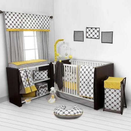Dots Stripes Grey Yellow Crib Bedding Collection