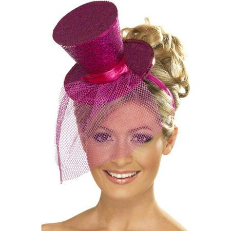 Hot Pink Glitter Mini Top Hat on Headband - Mini Tophats