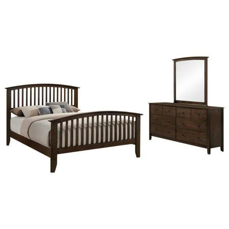 - Julitta 3 Piece Chestnut Brown Wood Queen Size Shaker Bedroom Set (Bed, Dresser & Mirror)