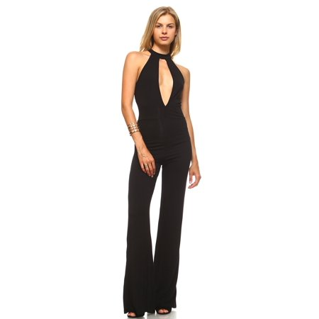 Exclusive Women's Deep Key Hole Bell Bottom Jumpsuit - Black - Small