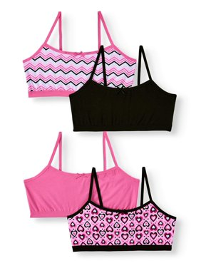 Chili Peppers Girls' Seamless Bralette, 4-pack Sizes S - XL
