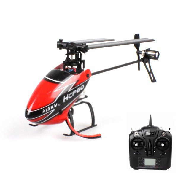 Hisky HCP60 2.4G 6CH Mini 6 Axis Gyro Flybarless RC Helicopter Airplane + Remote Control,Mode 2 color by