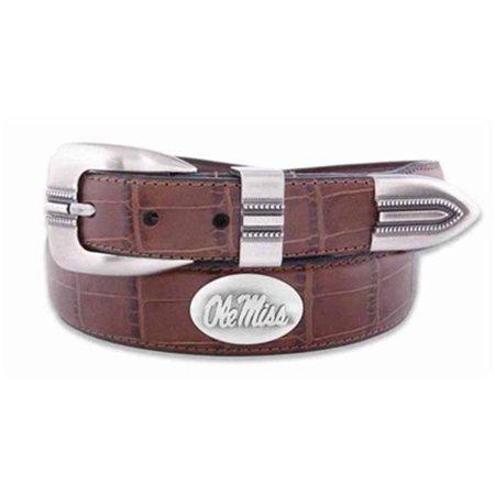 OLE Miss Concho Croc Tan Leather Belt, 44 Waist