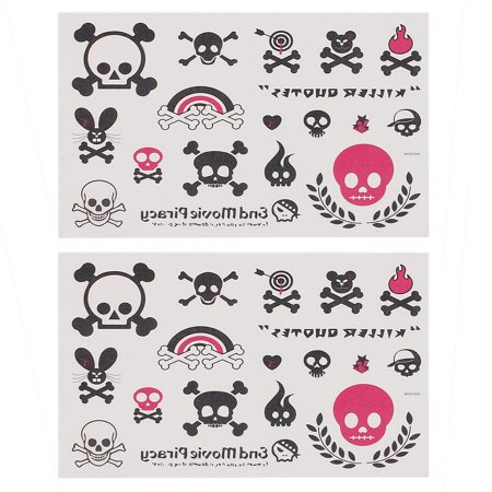 2 pieces skull print body art removable sticker temporary tattoos