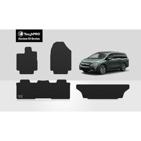ToughPRO - HONDA Odyssey Front, 2nd & 3rd Row Mats - All Weather - Heavy Duty - Black Rubber - 2019 (Front, 2nd & 3rd Row Mats)
