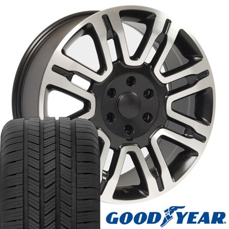 20x8.5 Wheels & Tires Fits Ford® Trucks - Expedition® Style Rims Black w/Mach'd Face, Hollander 3788 w/Goodyear