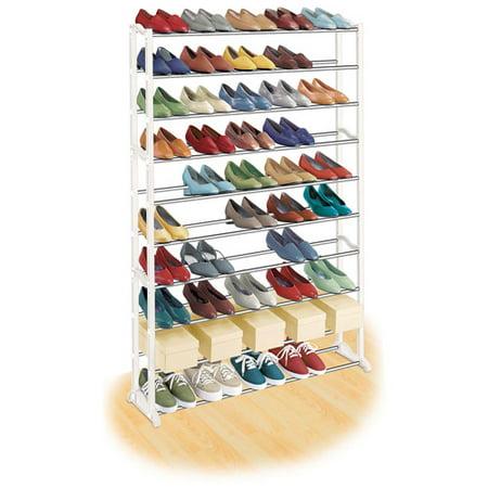 Lynk® 50 Pair Shoe Rack - 10 Tier - Shoe Shelf Organizer - White White Shoe Organizer
