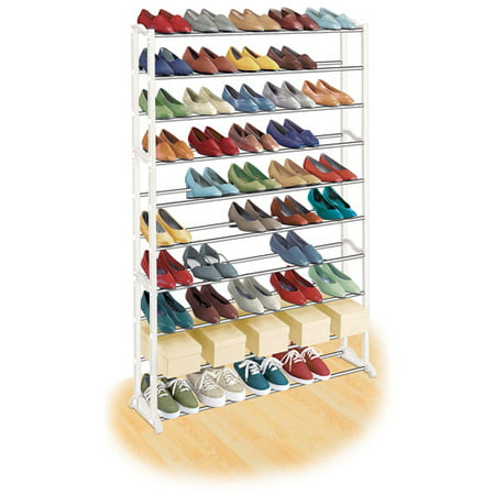 Lynk 50 Pair Shoe Rack, 10 Tier, Shoe Shelf Organizer, White