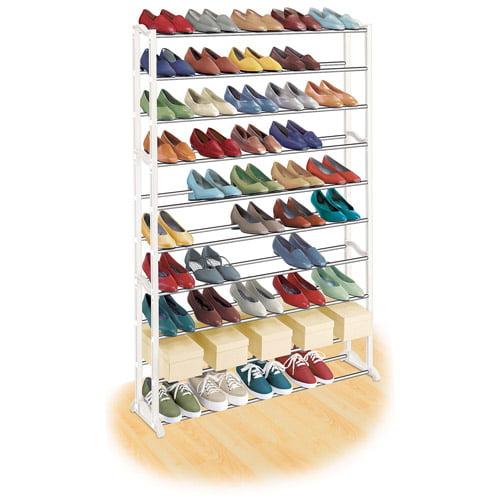 Lynk 50 Pair Shoe Rack, 10 Tier, Shoe Shelf Organizer, White