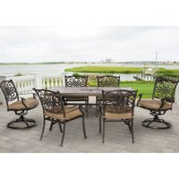 "Hanover Monaco 7-Piece Patio Dining Set in Natural Oat with 4 Dining Chairs, 2 Swivel Rockers, and a 40"" x 68"" Tile-Top Table"