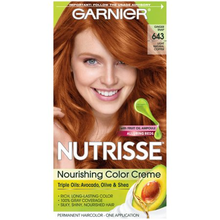Garnier Nutrisse Nourishing Hair Color Creme (Reds), 643 Light Natural Copper, 1 kit (White Halloween Hair Dye)