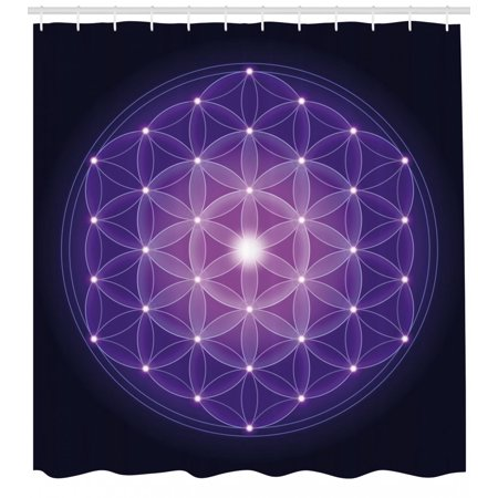 Dark Blue Shower Curtain Flower Of Life With Stars Spiritual Symbol Sacred Geometry Ancient Fabric Bathroom Set Hooks Pink Purple