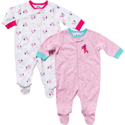 Gerber Newborn Baby Girl Zip Front Giraffe Sleep N Play  - 2 Pack