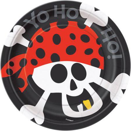 "(4 Pack) 7"" Pirate Paper Dessert Plates, 8ct"