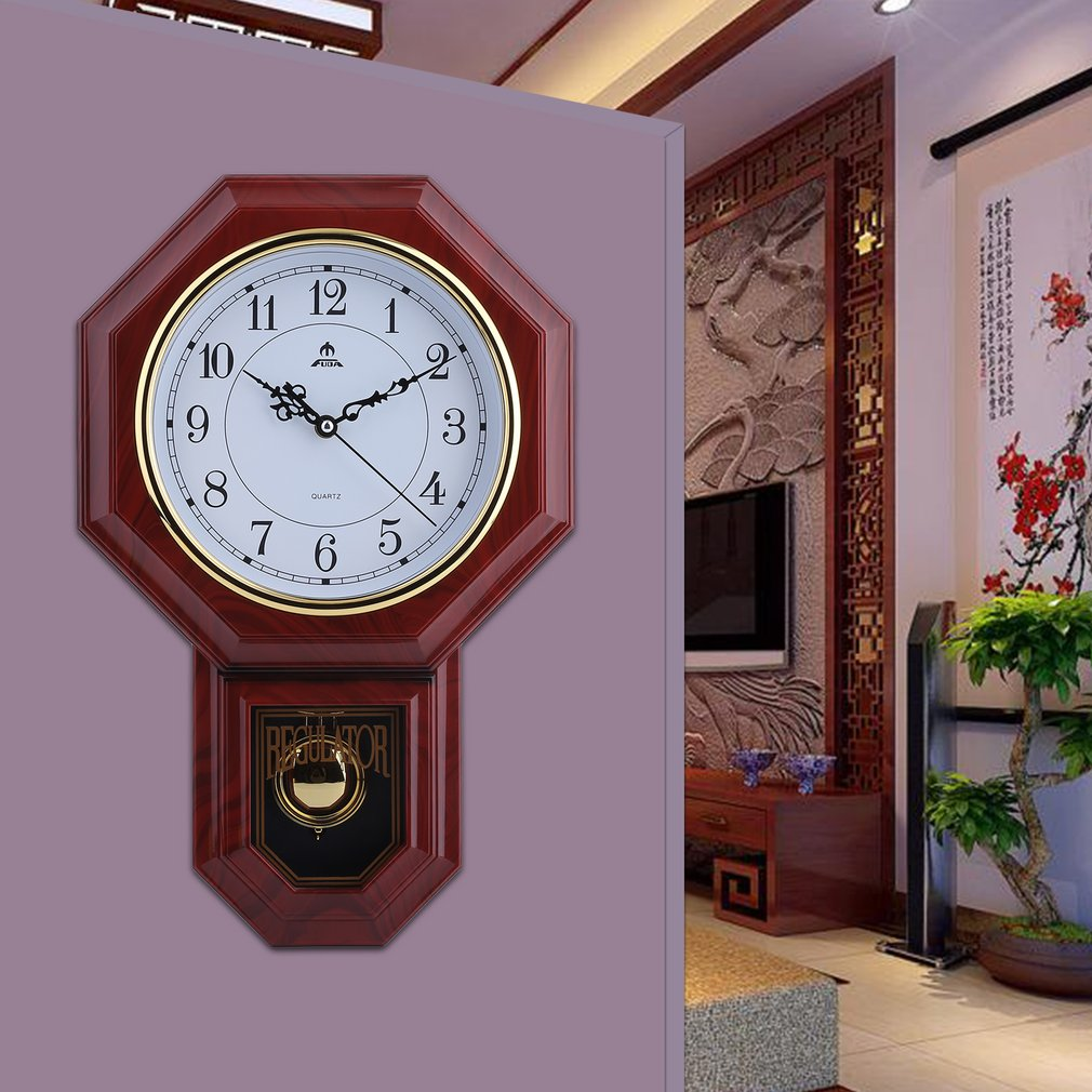 Chinese Style Battery Operated Large Wall Clocks With Pendulum Home Decor  Office Schoolhouse Decoration For Decorative