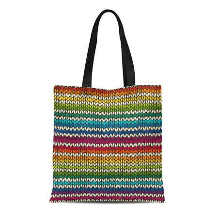 - ASHLEIGH Canvas Tote Bag Green Pattern Colorful Rainbow Knitted Stripes Wool Scandinavian Knit Reusable Shoulder Grocery Shopping Bags Handbag
