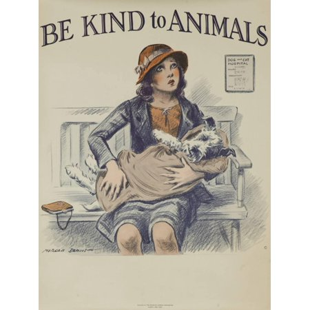 1939 Be Kind to Animals, American Civics Poster, Veterinary Office Girl with Dog Vintage Antique Advertisement Print Wall Art