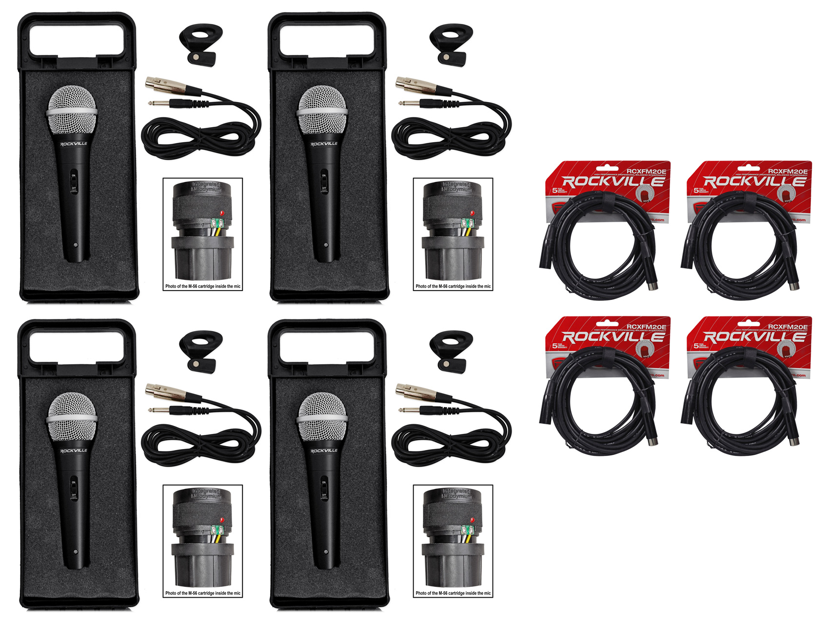(4) Rockville RMC-XLR Metal Handheld Wired Microphones+(4) 100% OFC XLR Cables by ROCKVILLE