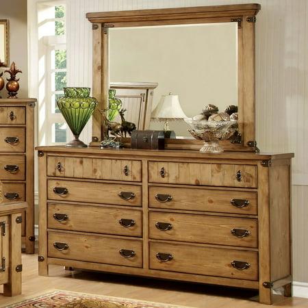 Furniture of America Cauble Antique Pine 8 Drawer Dresser American Antique Dressers