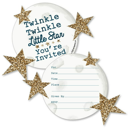 Twinkle Little Star - Shaped Fill-In Invitations - Baby Shower or Birthday Party Invitations - Set of - Twinkle Twinkle Little Star Invitation