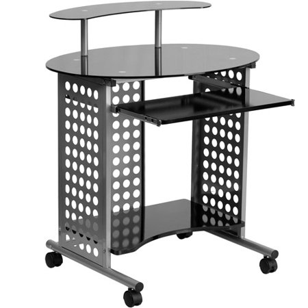 Flash Furniture Cassini Glass Top Computer Desk with Wheels, Black