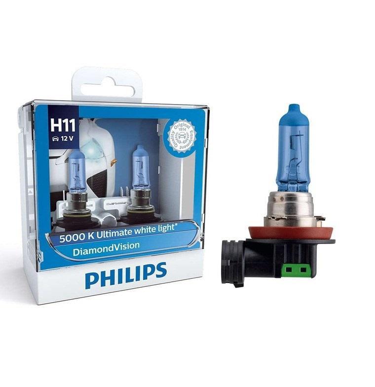 Philips H11 Diamond Vision Headlight Bulbs up to 5000K 12V55W pack of 2