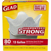 Glad Tall Kitchen Quick-Tie Trash Bags, 13 Gallon, 80 Count