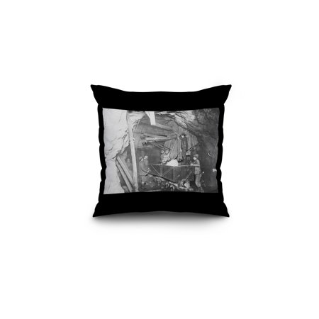 Treadwell Gold Mine 500 feet Under the Ocean in Nome Photograph (16x16 Spun Polyester Pillow, Black