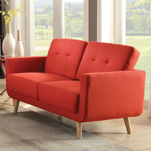 ACME Sisilla Mid-Century Loveseat, Red Linen by Acme Furniture