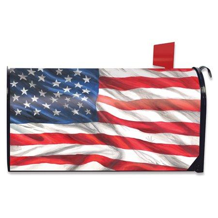 American Flag Waving Patriotic Magnetic Mailbox Cover Standard Briarwood
